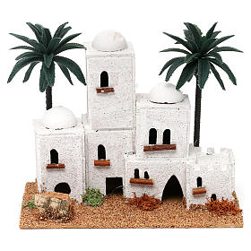 Arab-style village with palm trees Nativity scene 4 cm 15x20x10 cm s1