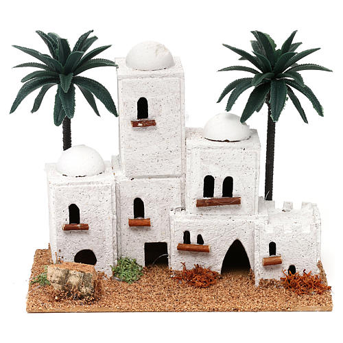 Arab-style village with palm trees Nativity scene 4 cm 15x20x10 cm 1