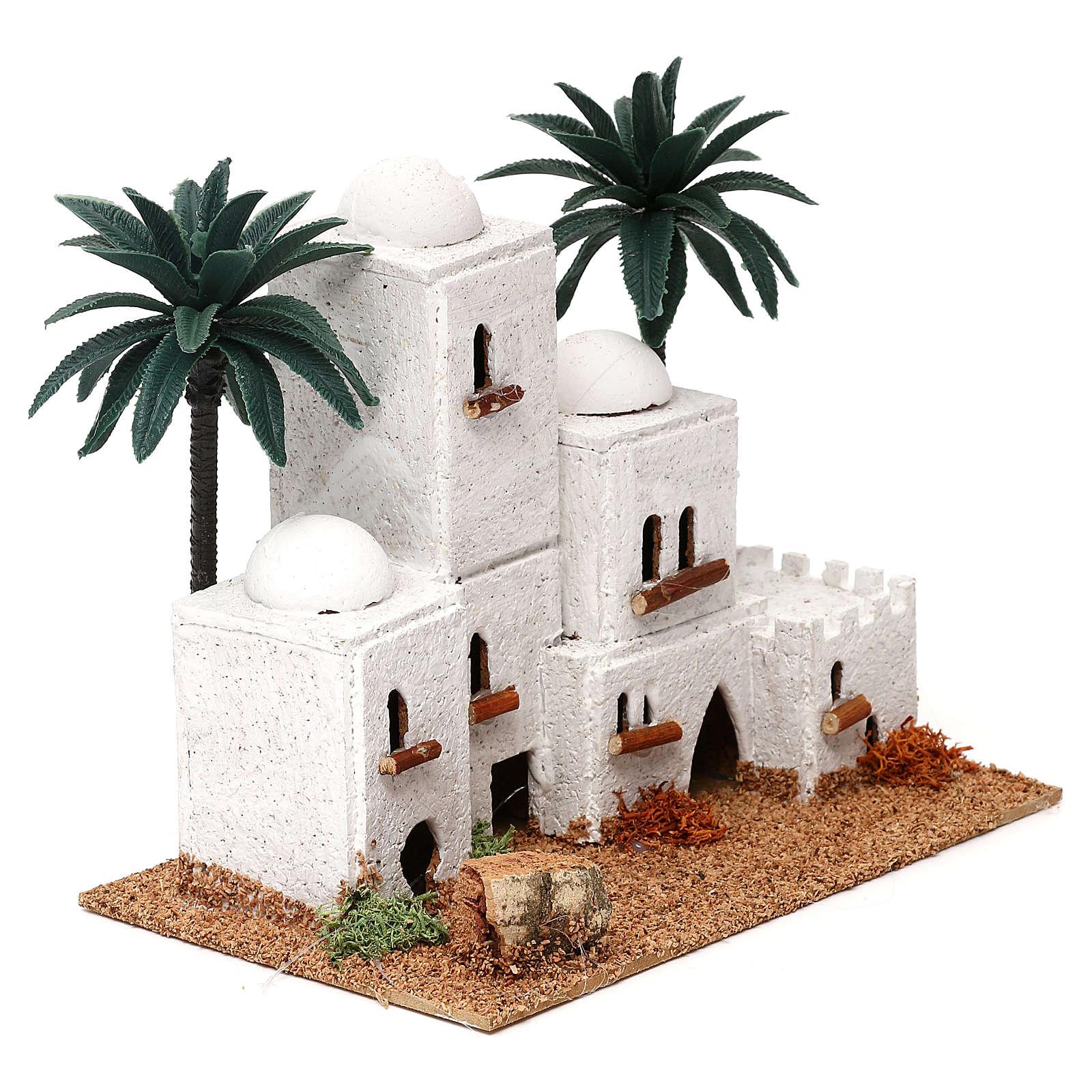 Pueblo en estilo árabe con palmas belén 4 cm 15x20x10 cm 4