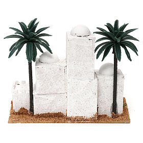 Pueblo en estilo árabe con palmas belén 4 cm 15x20x10 cm s4