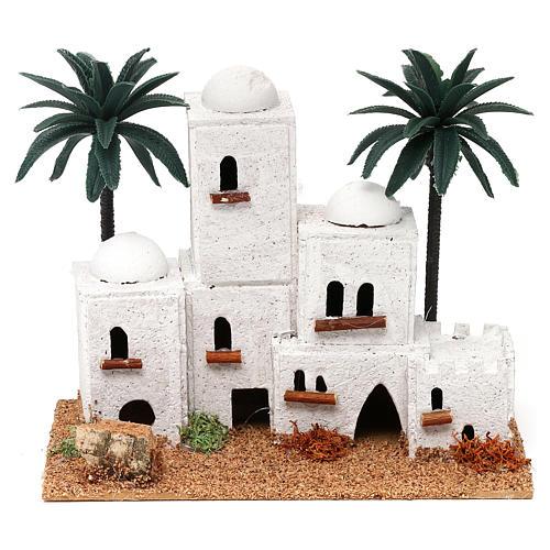 Pueblo en estilo árabe con palmas belén 4 cm 15x20x10 cm 1