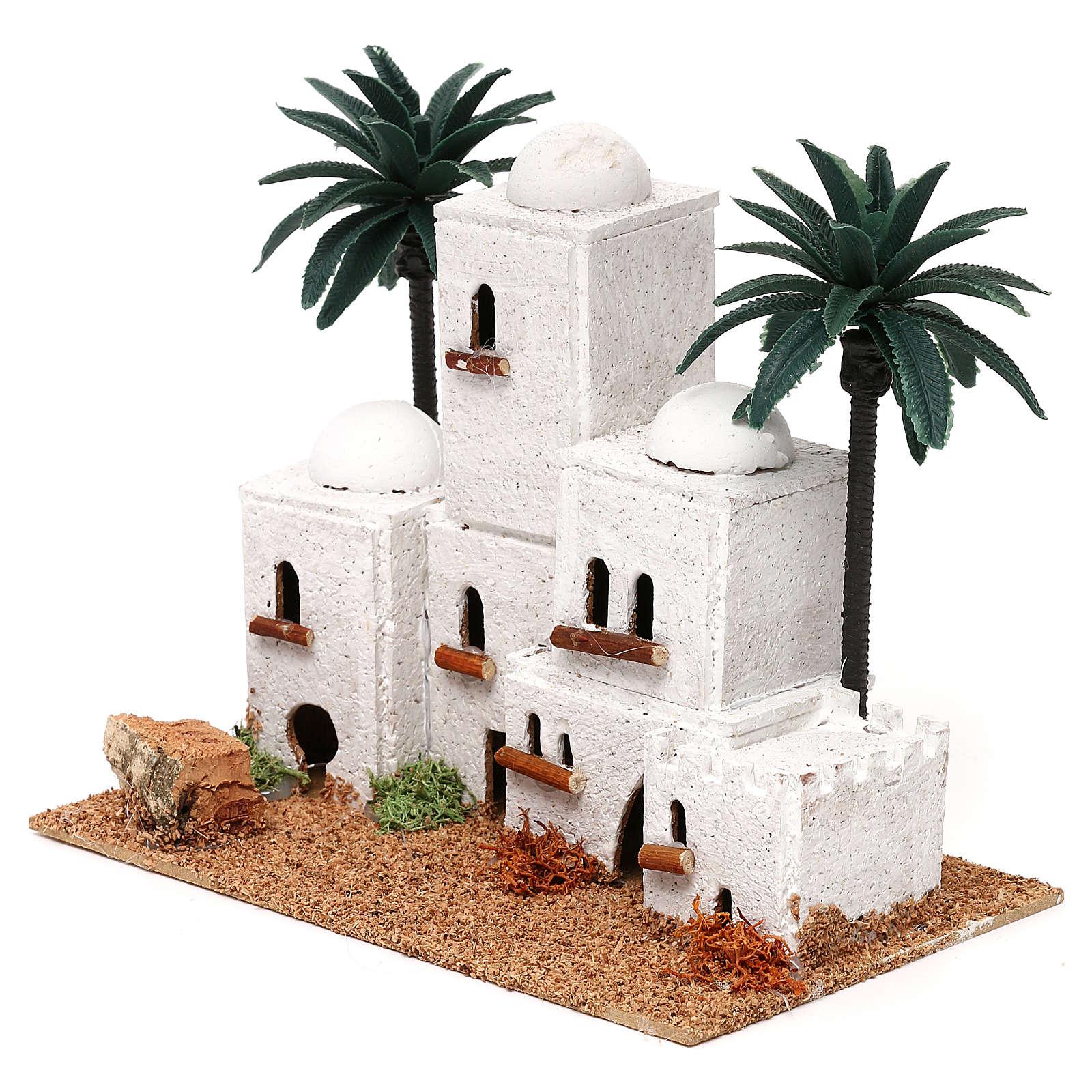 Aldeia em estilo árabe com palmeira 15x20x10 cm para presépio com figuras de 4 cm de altura média 4
