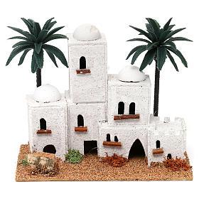 Aldeia em estilo árabe com palmeira 15x20x10 cm para presépio com figuras de 4 cm de altura média s1