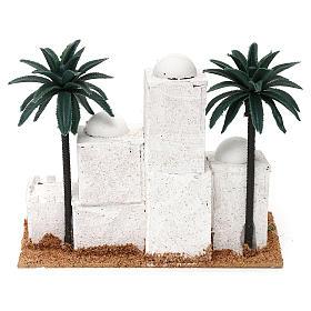 Aldeia em estilo árabe com palmeira 15x20x10 cm para presépio com figuras de 4 cm de altura média s4