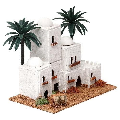 Aldeia em estilo árabe com palmeira 15x20x10 cm para presépio com figuras de 4 cm de altura média 3