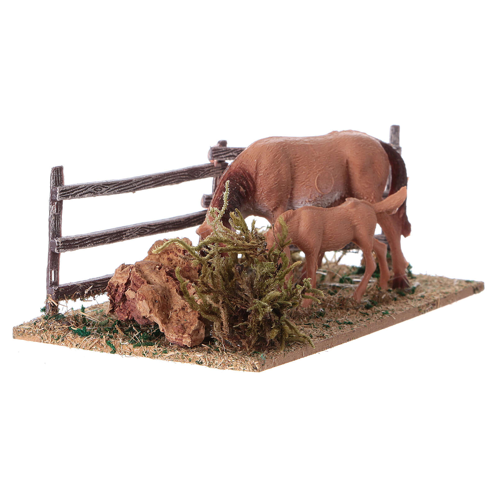 Miniature fence with horses, 5x10x10 cm 4