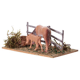 Miniature fence with horses, 5x10x10 cm s2