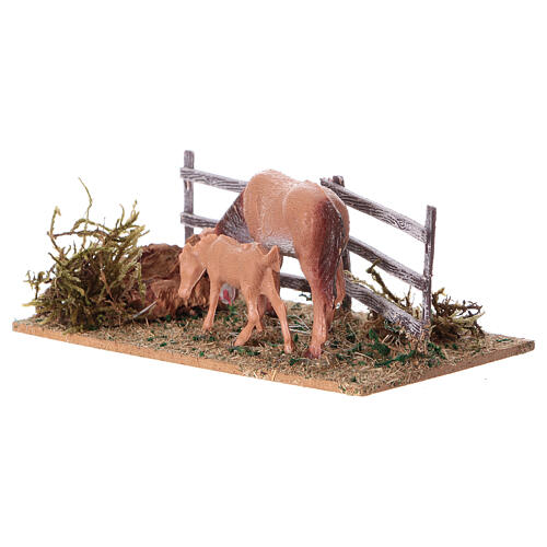 Miniature fence with horses, 5x10x10 cm 2