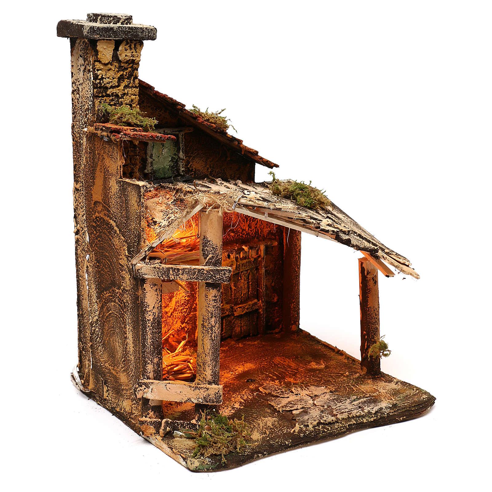 Hut with light for Nativity scene 30x30x40 cm 4