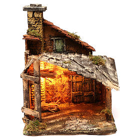 Hut with light for Nativity scene 30x30x40 cm s1