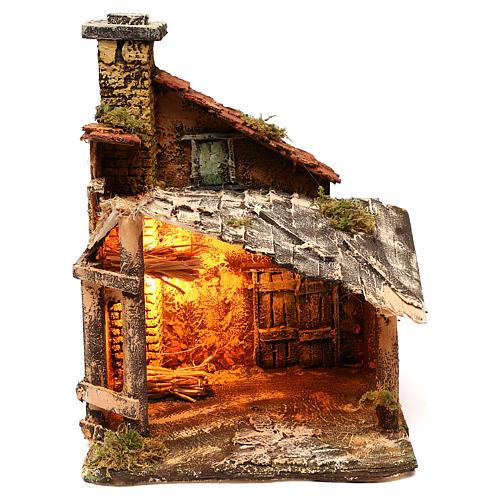 Hut with light for Nativity scene 30x30x40 cm 1