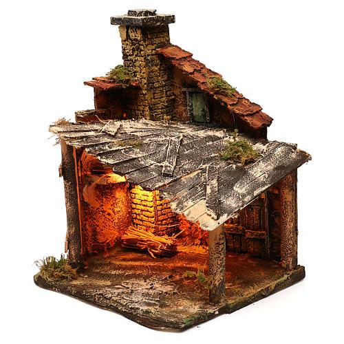 Hut with light for Nativity scene 30x30x40 cm 2