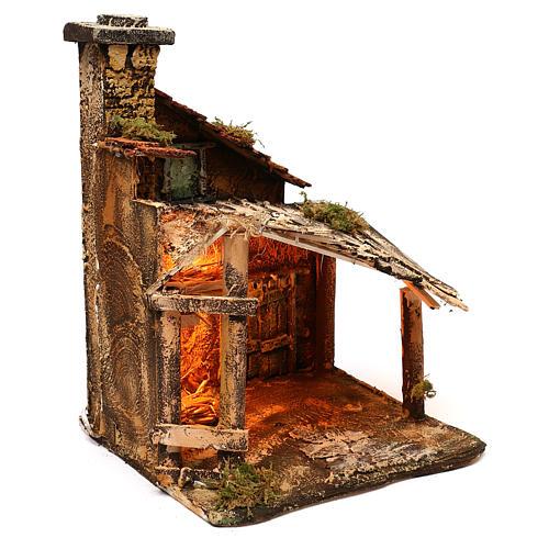 Hut with light for Nativity scene 30x30x40 cm 3