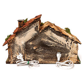 Hut with light and flame effect lamp for Nativity scene 40x25x25 cm s4
