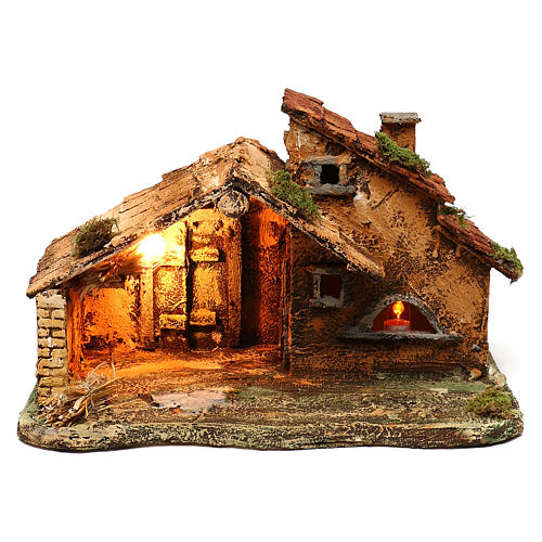 Hut with light and flame effect lamp for Nativity scene 40x25x25 cm 1