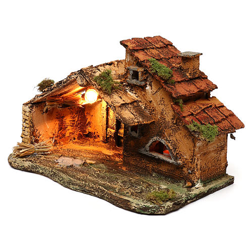 Hut with light and flame effect lamp for Nativity scene 40x25x25 cm 2