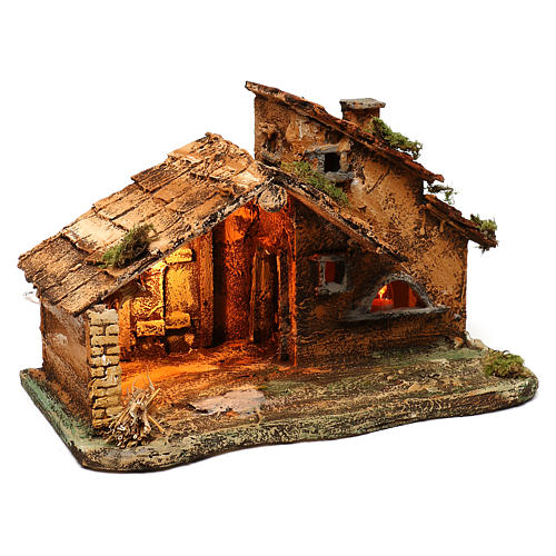 Cabaña con luz y lámpara efecto llama para belén Nápoles 40x25x25 cm 3