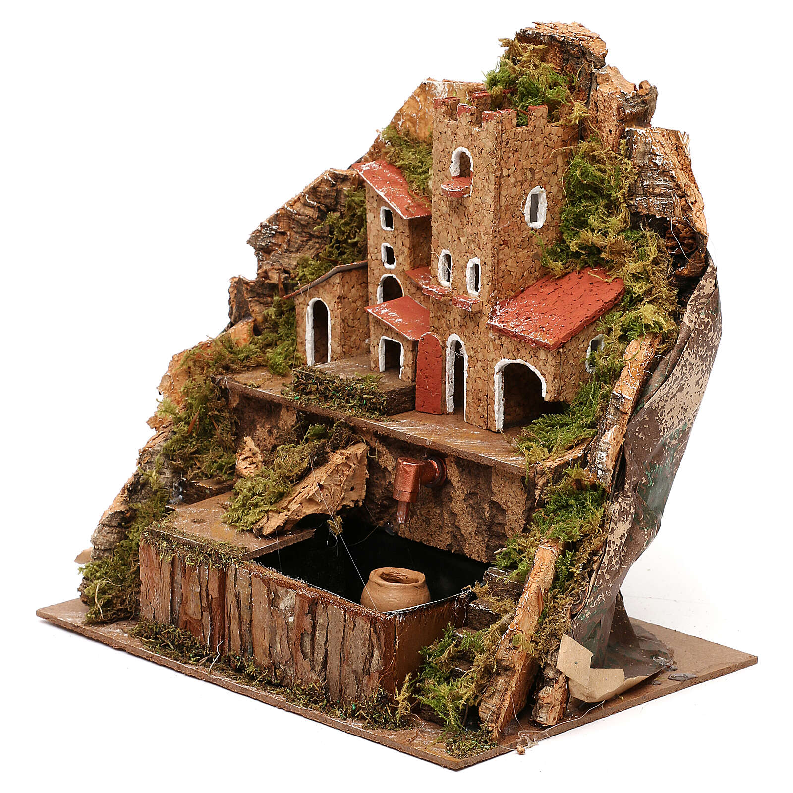 Nativity village with fountain and pump, 20x15x20 cm 4