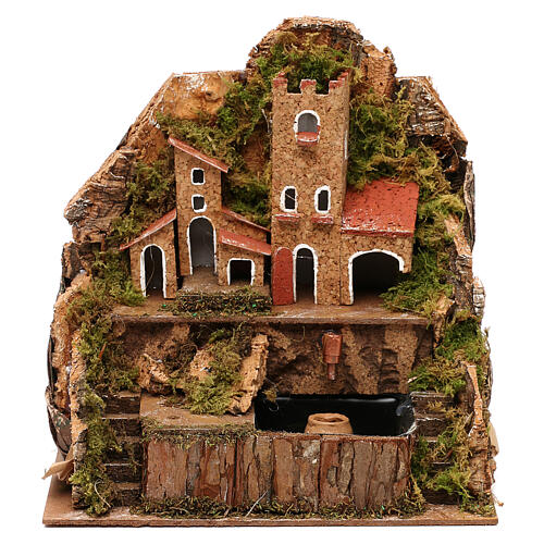 Nativity village with fountain and pump, 20x15x20 cm 1