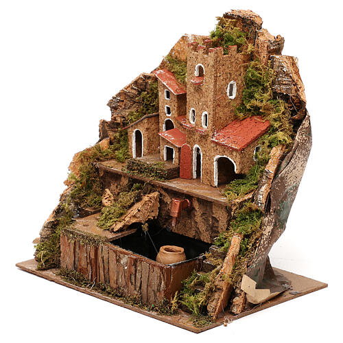 Nativity village with fountain and pump, 20x15x20 cm 2