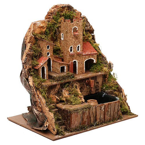 Nativity village with fountain and pump, 20x15x20 cm 3