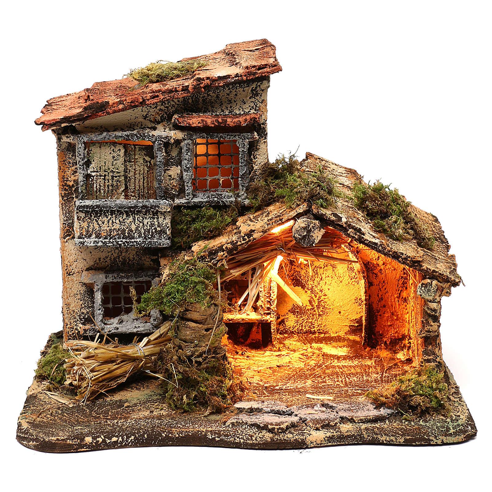 Hut with light for Nativity scene 35x25x30 cm 4