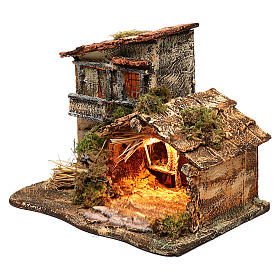 Hut with light for Nativity scene 35x25x30 cm s2