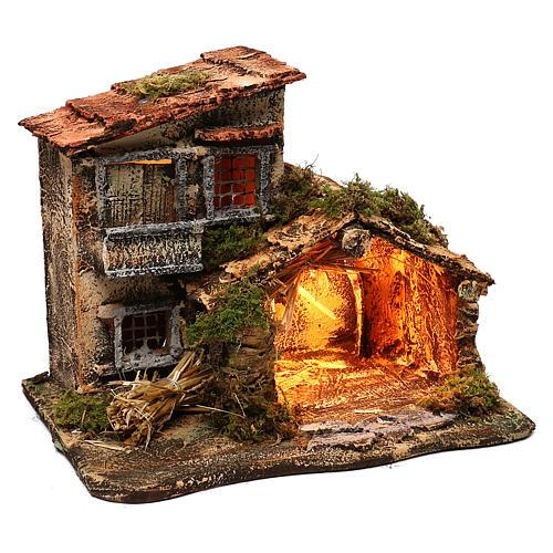 Hut with light for Nativity scene 35x25x30 cm 3