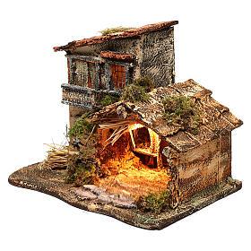 Cabane avec lumière pour crèche 35x25x30 cm s2