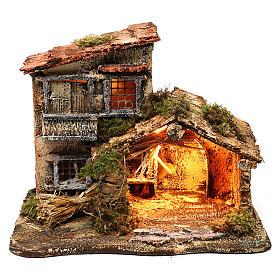 Ambientações para Presépio: lojas, casas, poços: Cabana com luz para presépio 35x25x30 cm