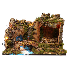 Hut with lights for Nativity scene 50x30x35 cm s1