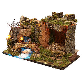 Hut with lights for Nativity scene 50x30x35 cm s2
