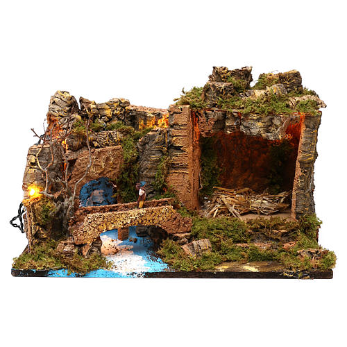 Hut with lights for Nativity scene 50x30x35 cm 1