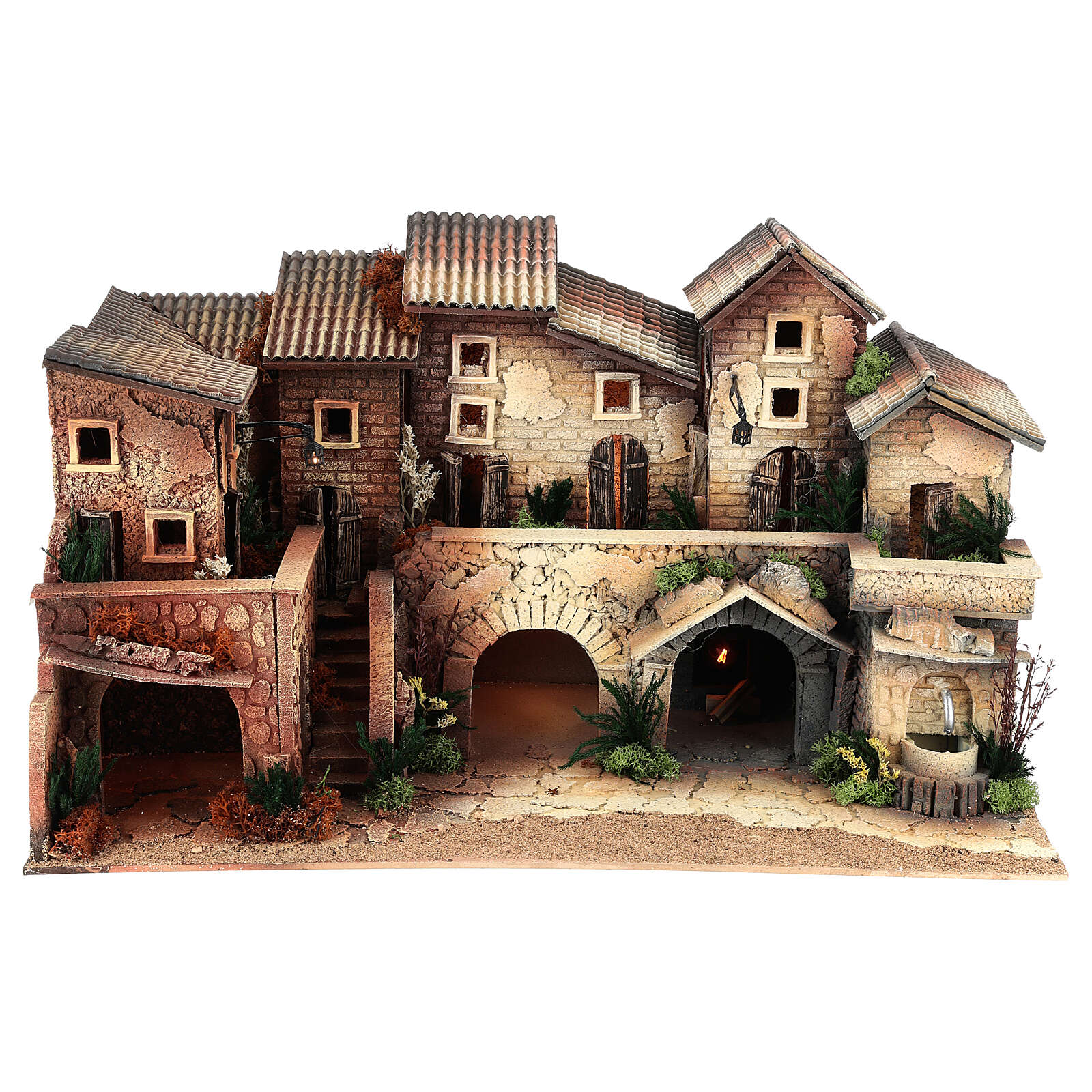 Mini village with working fountain and oven, 35x60x35 cm 8 cm 4