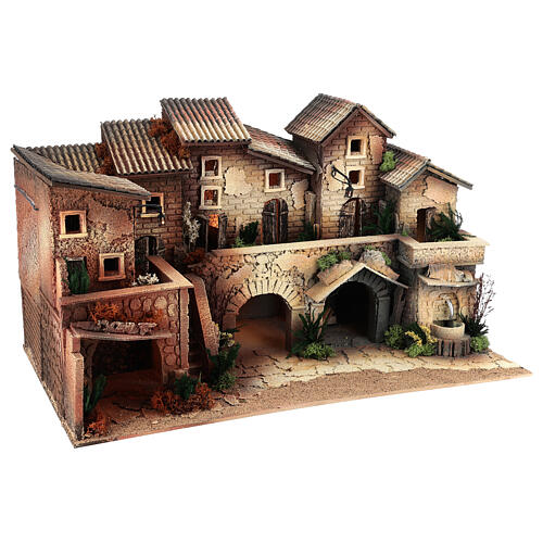 Mini village with working fountain and oven, 35x60x35 cm 8 cm 3