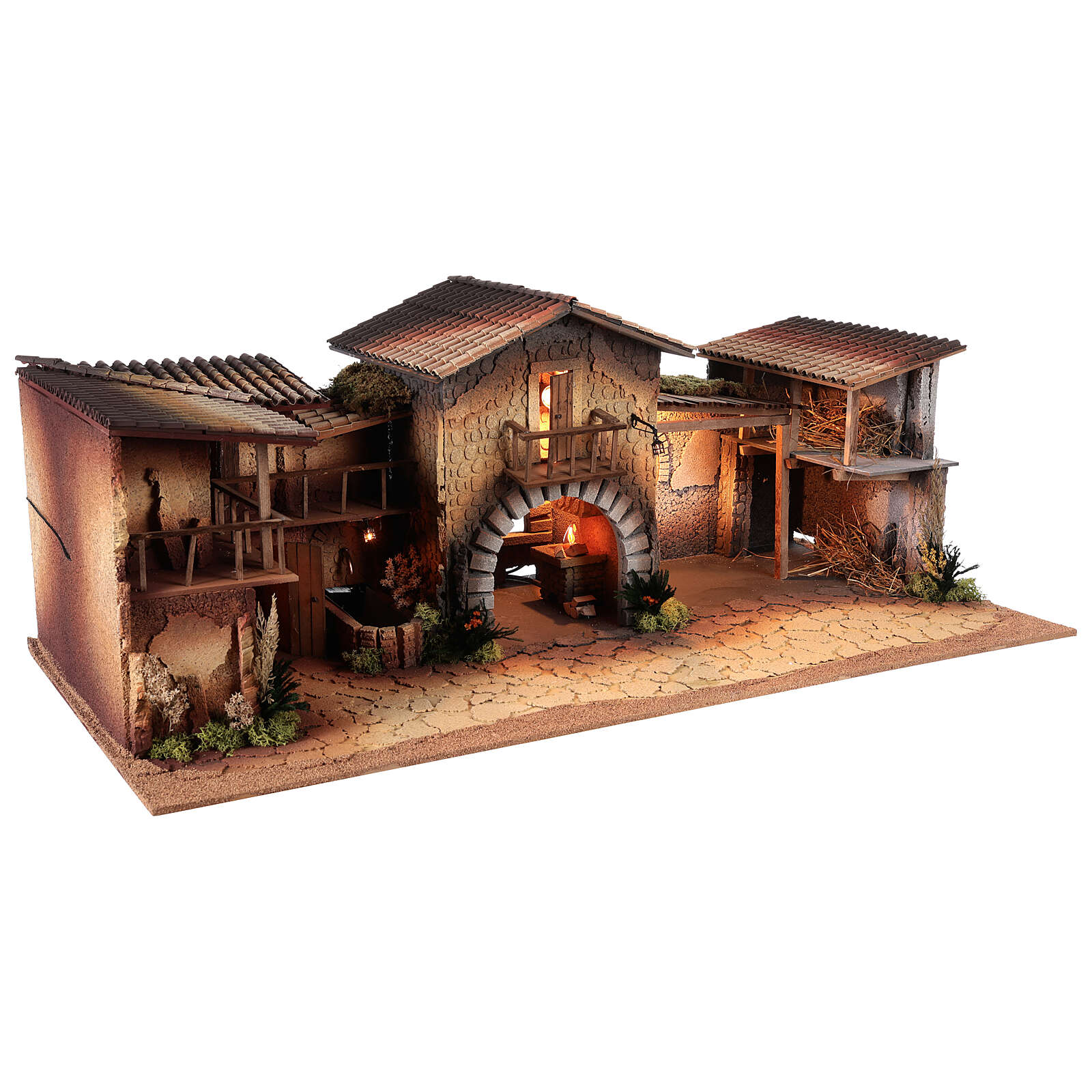 Nativity with lights and working fountain 40x95x45 cm, for 12 cm statues 4