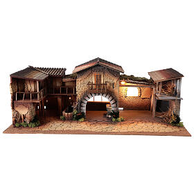 Nativity with lights and working fountain 40x95x45 cm, for 12 cm statues s1