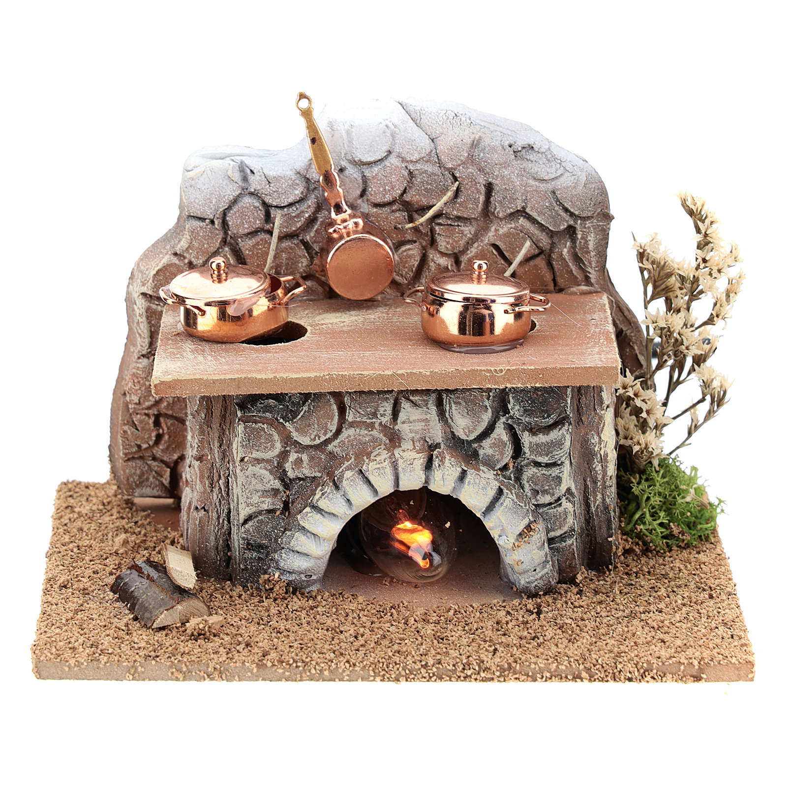 Oven with pans and fire 15x10x10 cm for Nativity Scenes of 8-10 cm 4