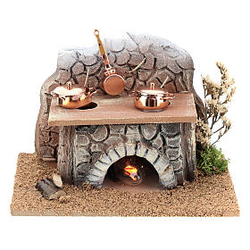 Oven with pans and fire 15x10x10 cm for Nativity Scenes of 8-10 cm s1
