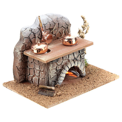Oven with pans and fire 15x10x10 cm for Nativity Scenes of 8-10 cm 3