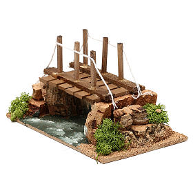 River with bridge 20x15x15 cm for Nativity scenes of 8-10 cm s2