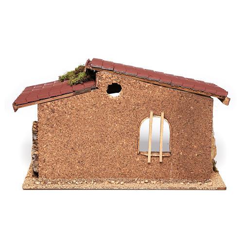 Cabaña belén simple corcho y musgo 21x35x20 cm 4