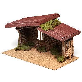 Cabane crèche simple liège et mousse 21x35x20 cm s2