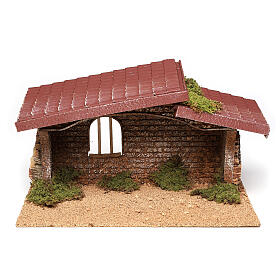 Nativity stable simple, in cork and moss 21x35x20 cm s1