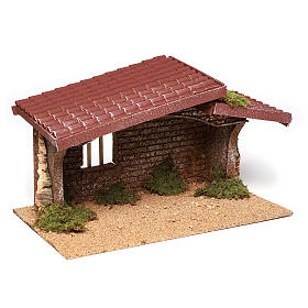 Nativity stable simple, in cork and moss 21x35x20 cm s3