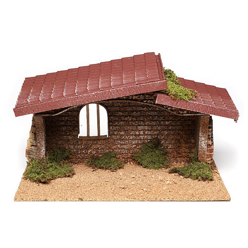 Nativity stable simple, in cork and moss 21x35x20 cm 1