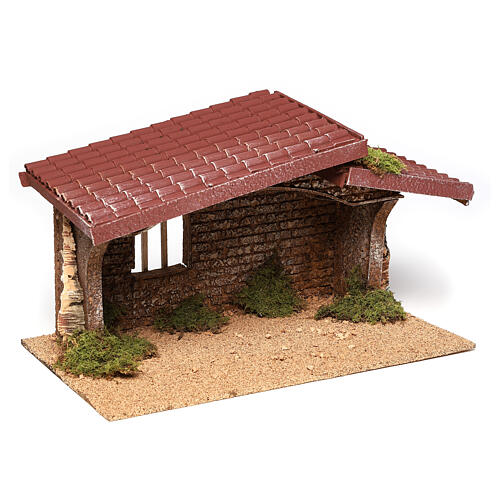 Nativity stable simple, in cork and moss 21x35x20 cm 3