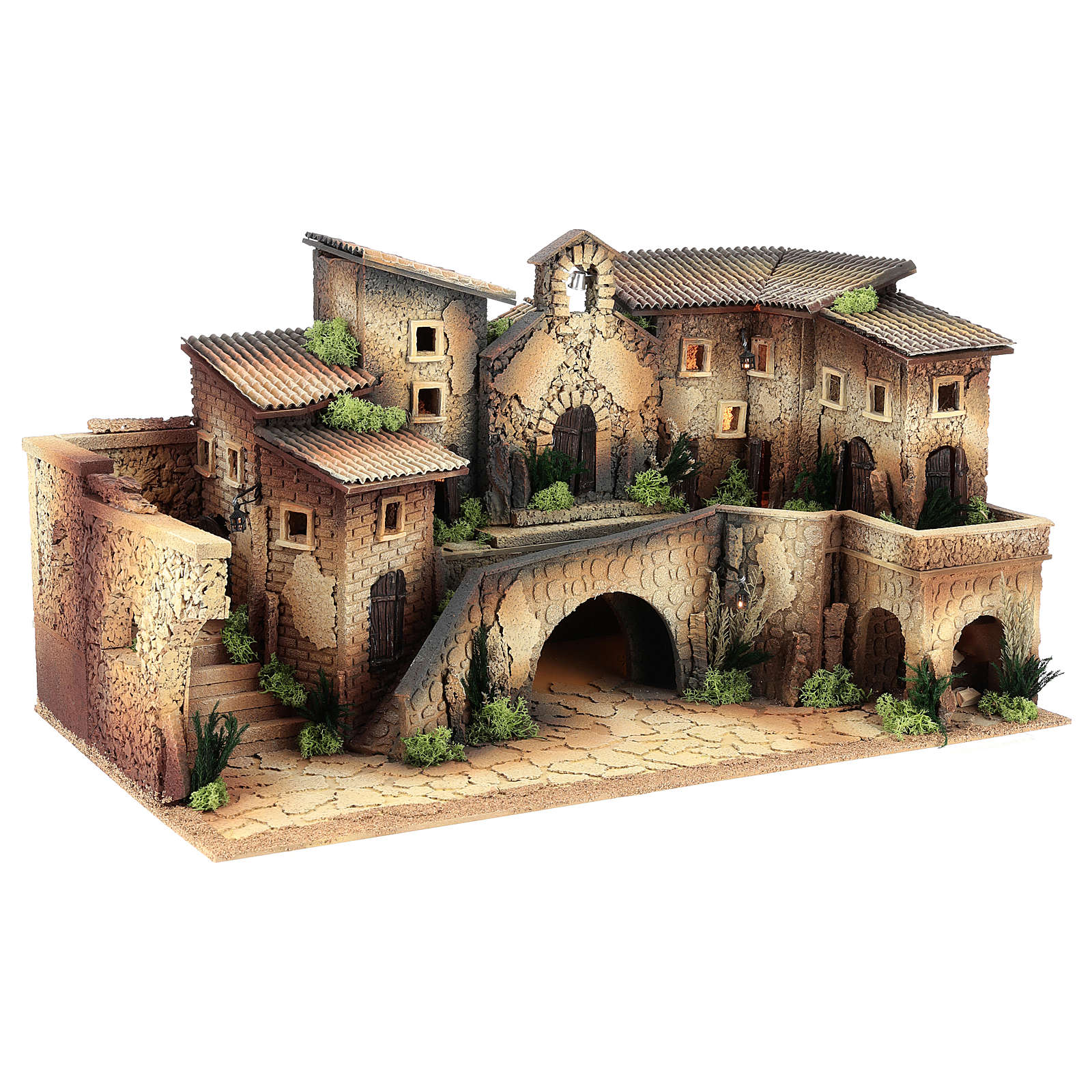 Ambientación belén 8 cm con iglesia 40x70x40 cm 4