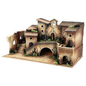 Décor crèche 6 cm avec église 40x70x40 cm s2