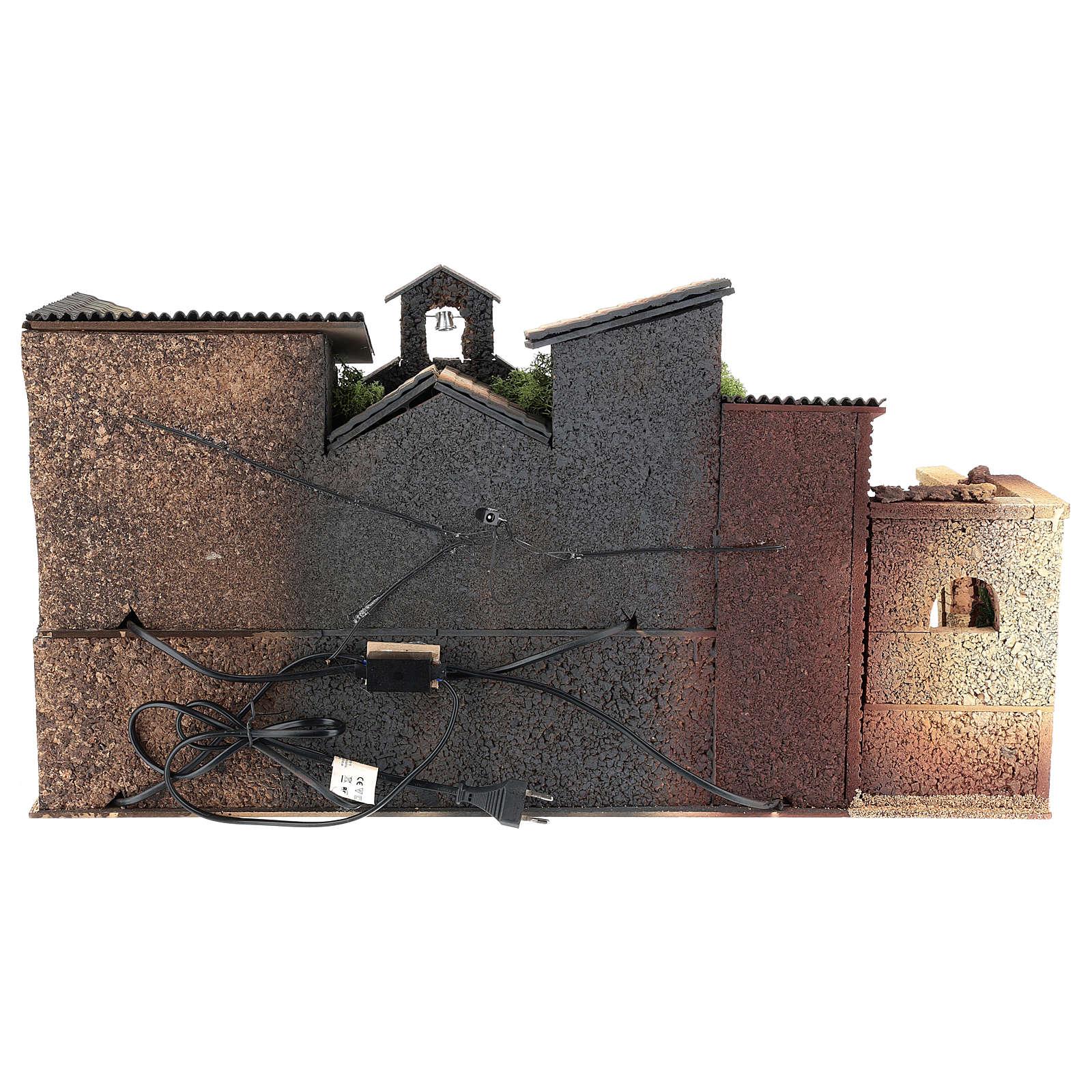 Ambientazione presepe 8 cm con chiesa  40x70x40 cm 4